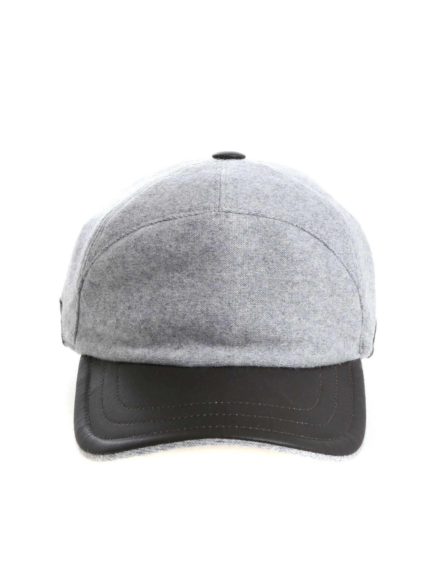 Lyst - Fedeli Grey Cap With Leather Details in Gray for Men 1e8e3d521c24