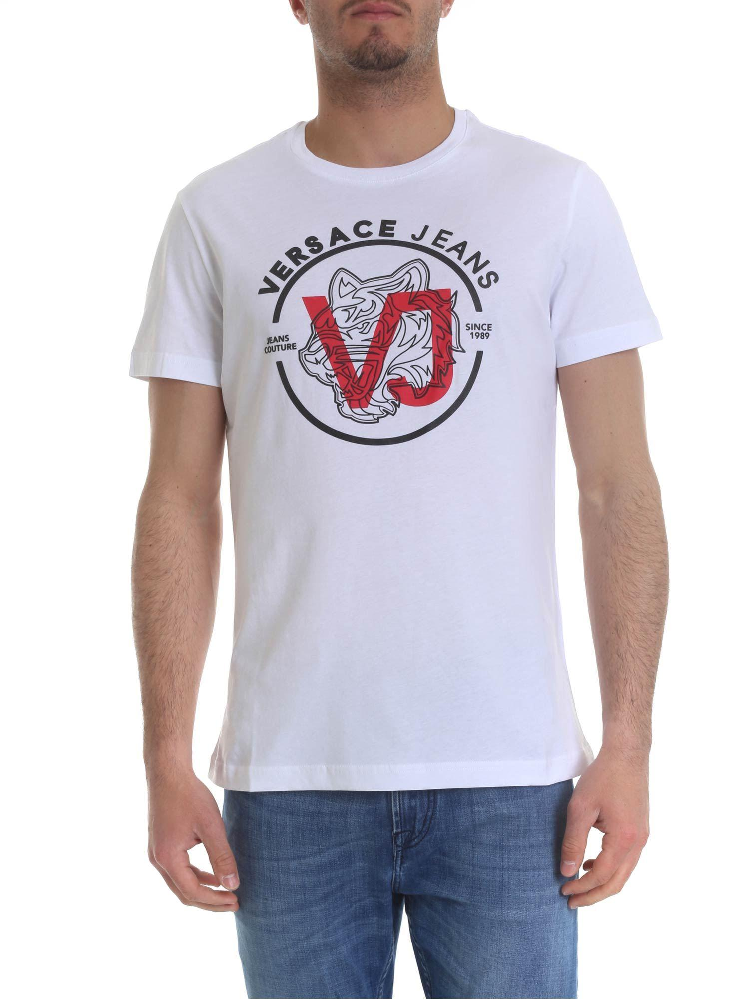 128a0167 Lyst - Versace Jeans White T-shirt With Black And Red Logo Print in ...