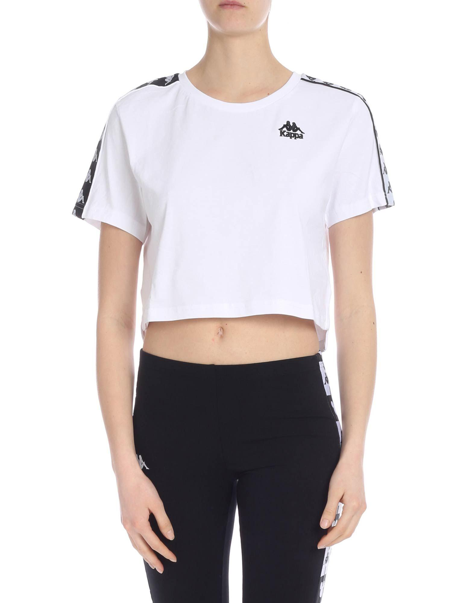3791f1e58fcb7 Lyst - Kappa Banda Apua Crop T-shirt In White With Branded Bands in ...