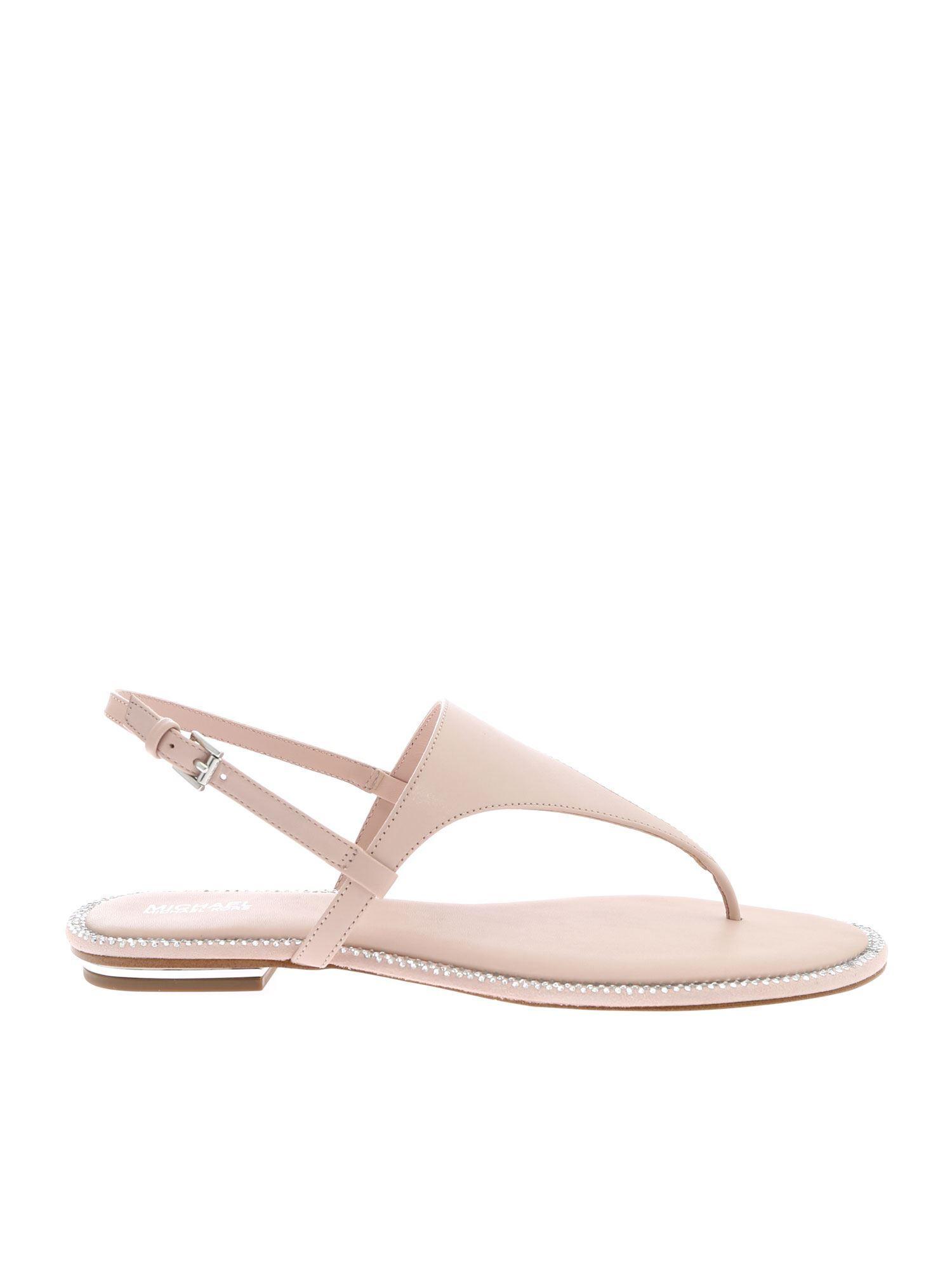 a99a4bb2b5fb Lyst - Michael Kors Michael Enid Thong Sandals in Pink