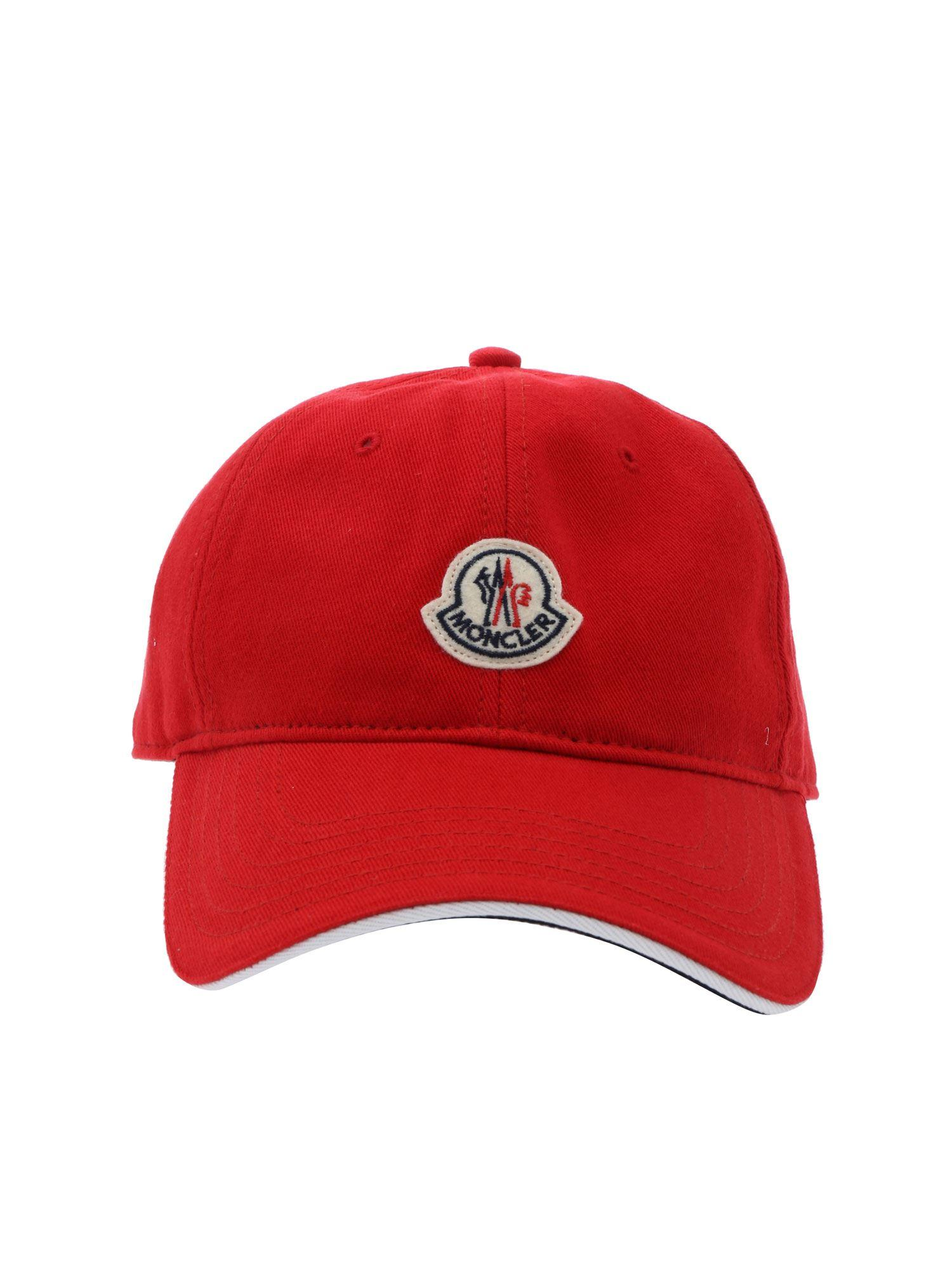 4593fdb361fe1b Lyst - Moncler Red Baseball Cap in Red for Men
