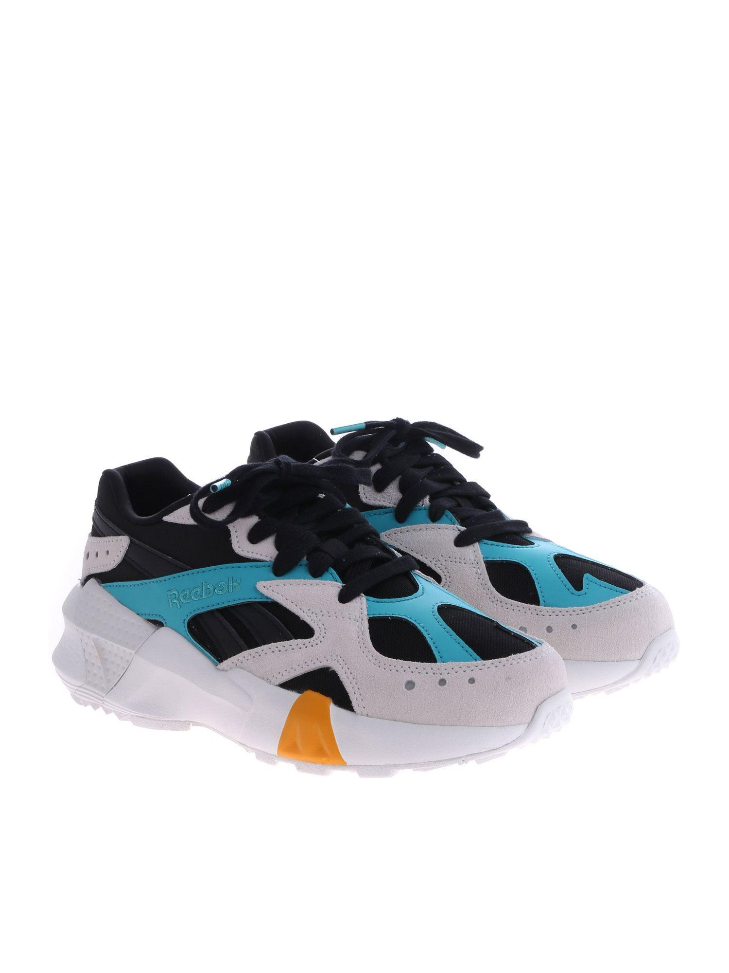 7350214f3d4 Reebok - Blue Black Aztrek Chunky Low-top Leather Sneakers - Lyst. View  fullscreen