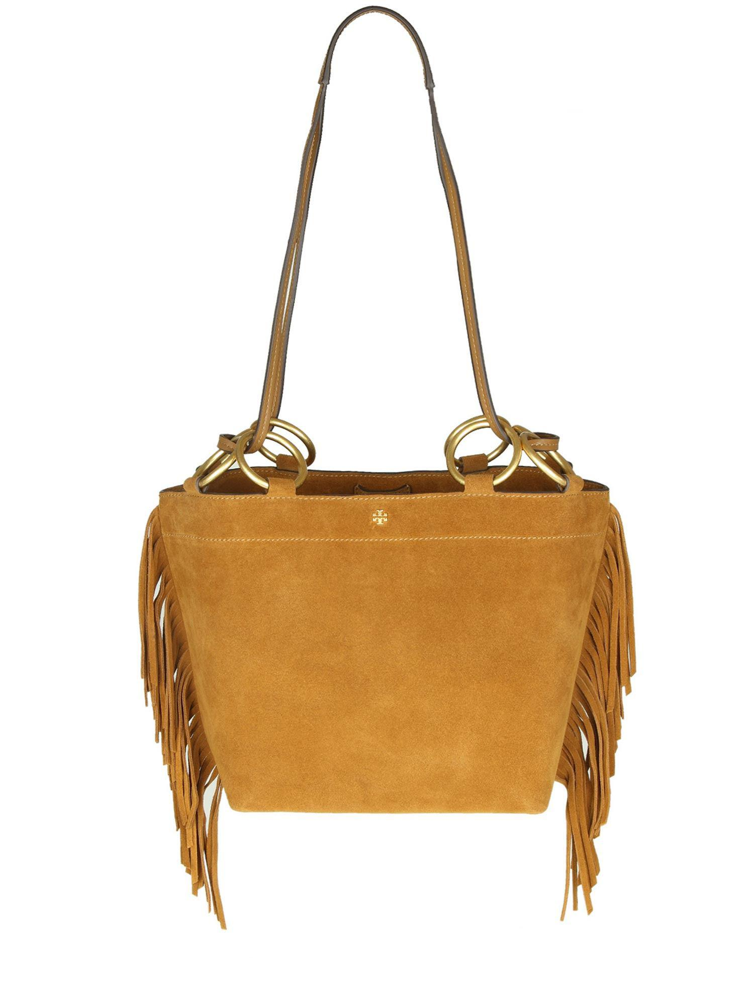 2a3c7a229d Tory Burch Camel Colored Farrah Fringe Small Tote Bag in Natural - Lyst