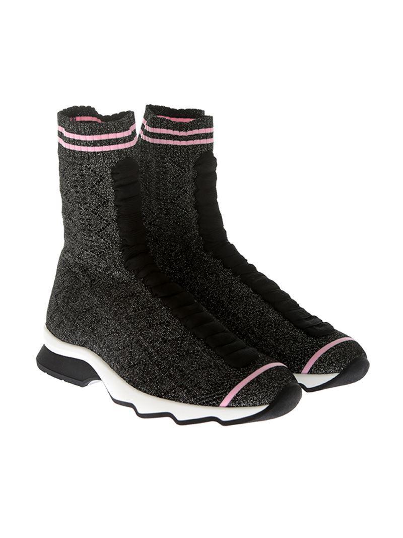 Black lurex fabric ankle boots Fendi XPigvGlwvS