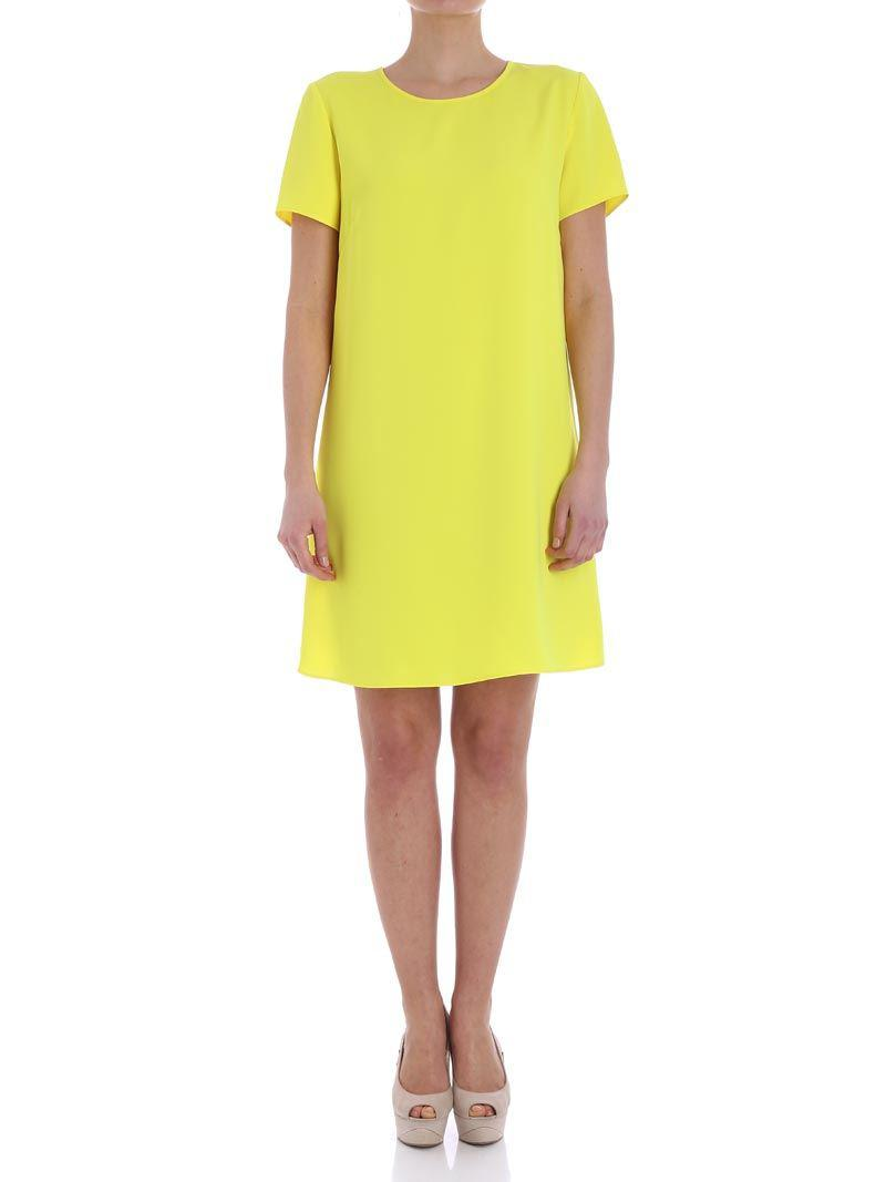 Yellow crewneck dress Parosh aJ0hv