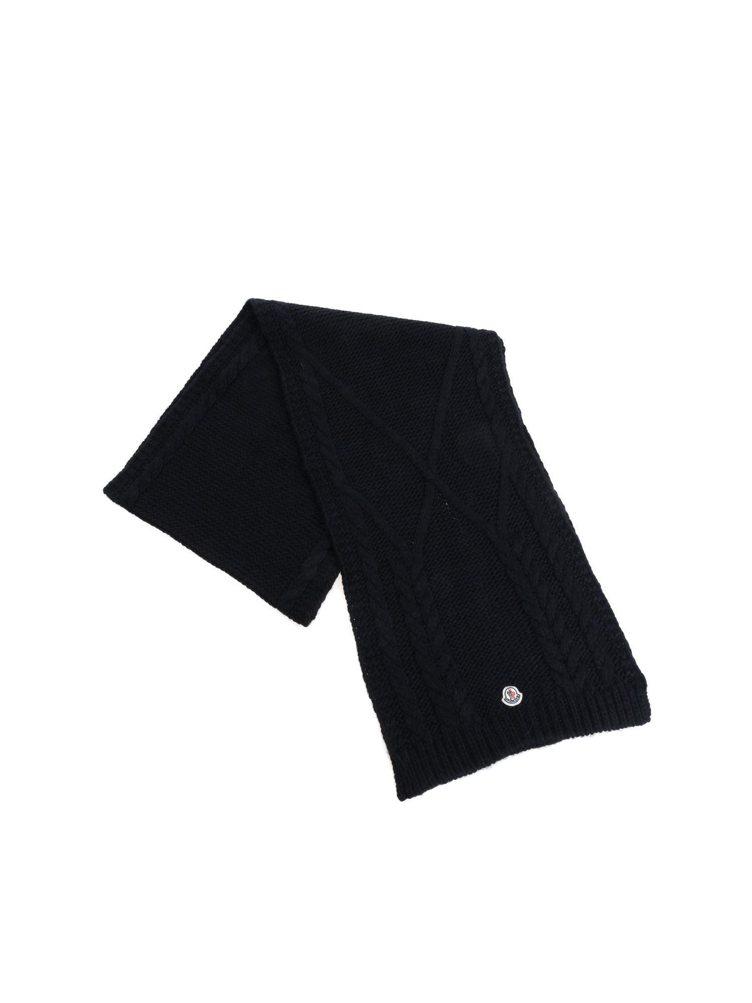 b9e983b98ce Lyst - Moncler Black Wool Blend Scarf in Black