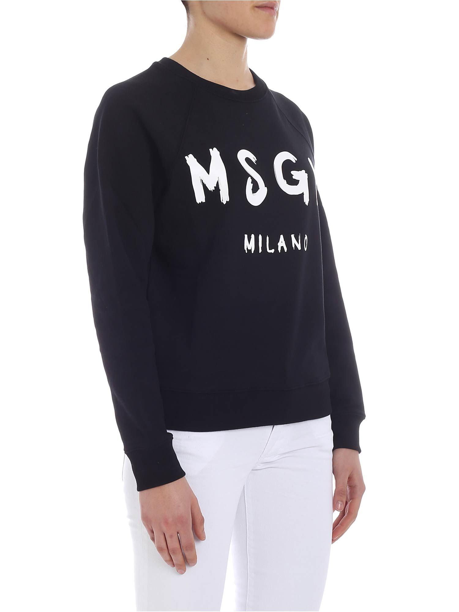 MSGM - Black Crewneck Sweatshirt With Brushed Logo - Lyst. View fullscreen 0d0a6114646