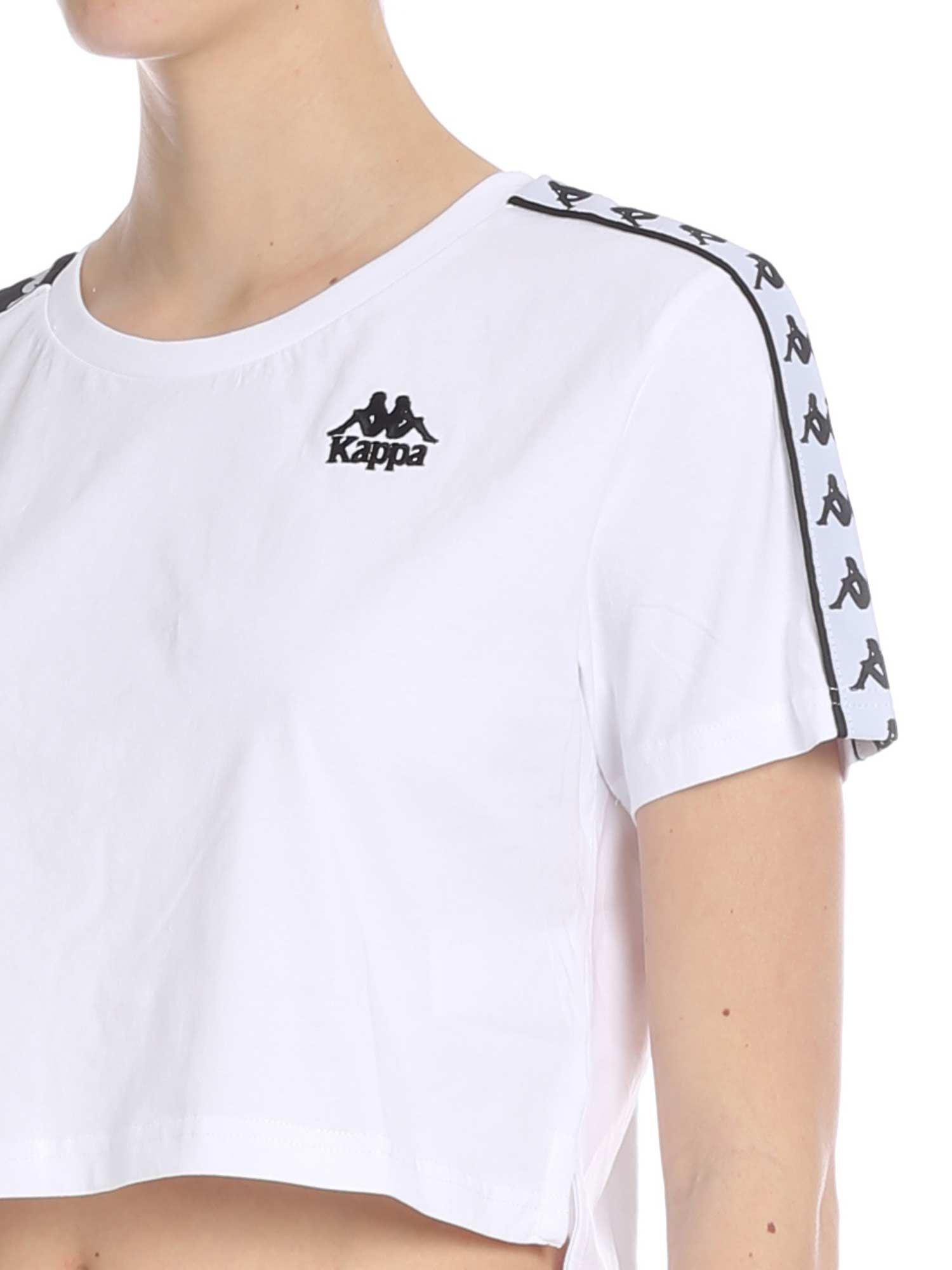 cedb44171fb48 Kappa - Banda Apua Crop T-shirt In White With Branded Bands - Lyst. View  fullscreen