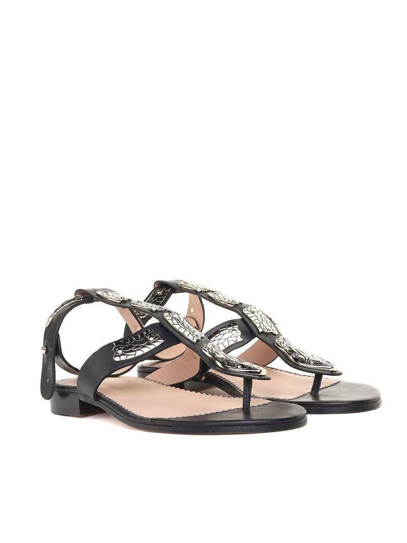 dddbab34a Lyst - RED Valentino Leather Sin Sandals With Snake