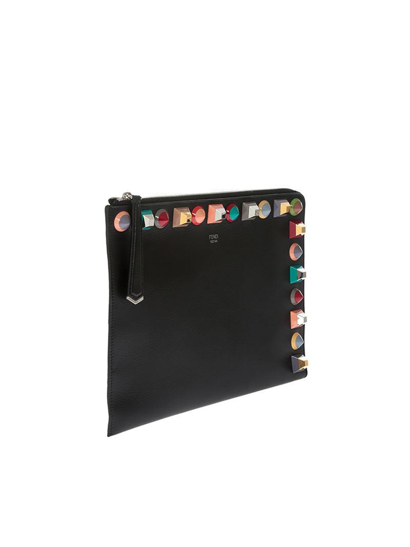 Black clutch with multicolor studs Fendi l6d5Z3v
