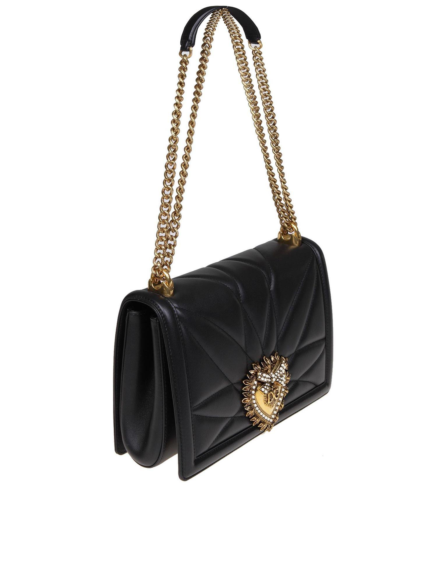 8b3bde2381 Lyst - Dolce   Gabbana Large Devotion Bag In Quilted Nappa Leather in Black  - Save 8%