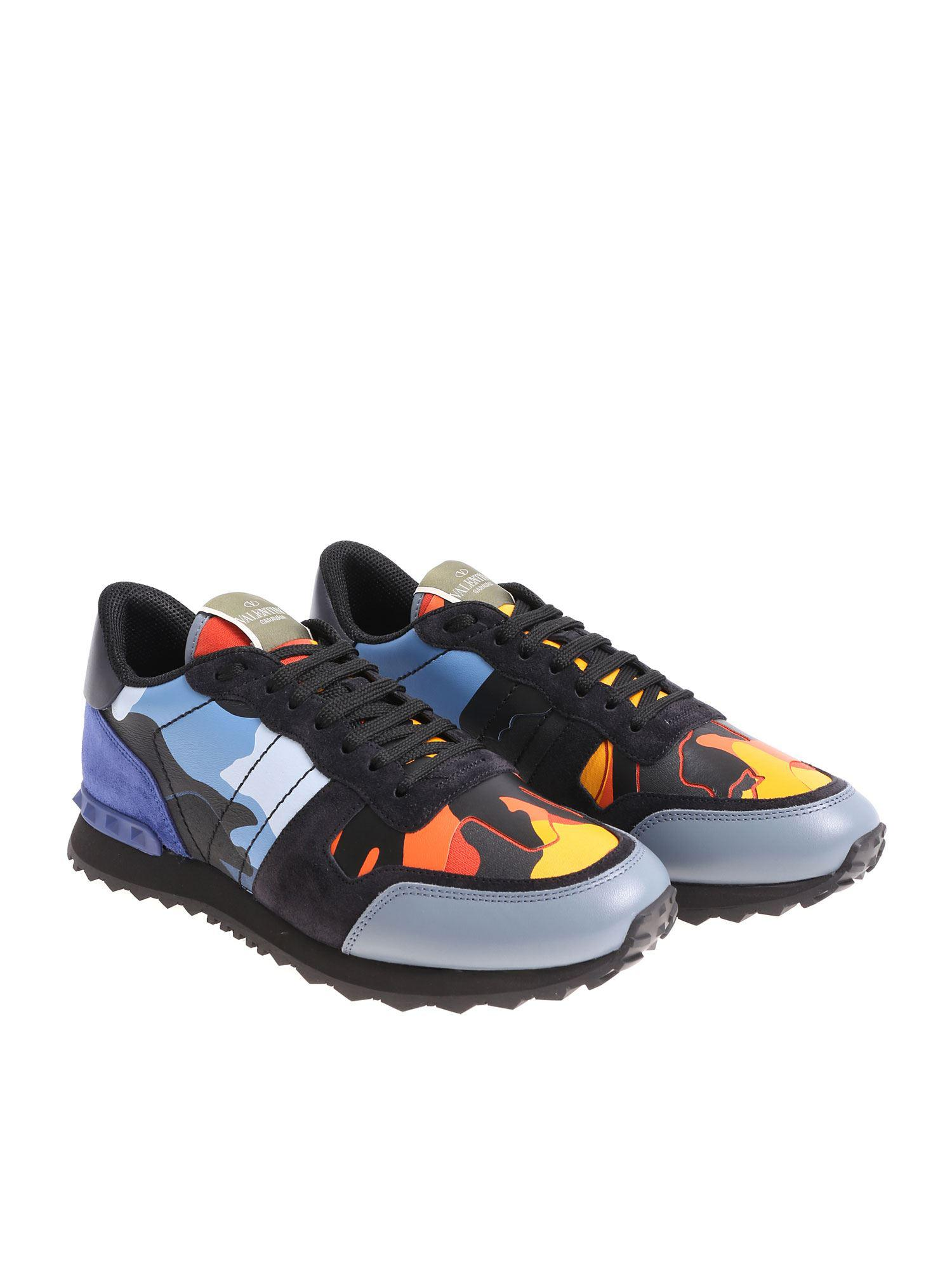 8025e4c39f1c Lyst - Valentino Rockrunner Camouflage Sneakers in Blue for Men