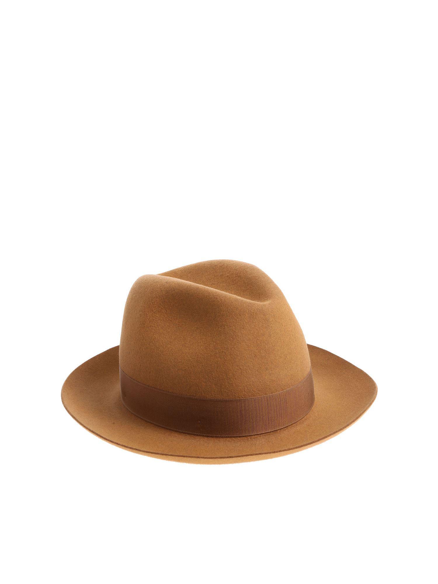 cb660c5fd2f Borsalino - Brown Camel Colored Felt Alessandria Hat for Men - Lyst. View  fullscreen