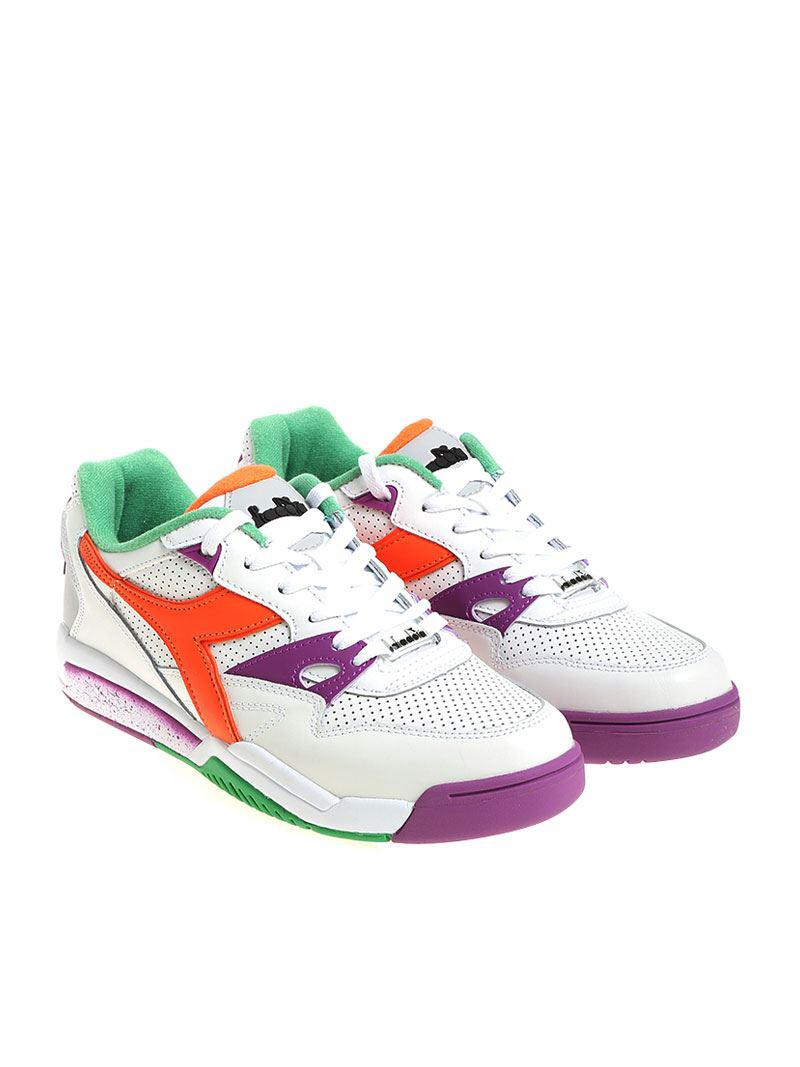 188eb6b0d Lyst - Diadora White And Purple Rebound Ace Sneakers in White for Men