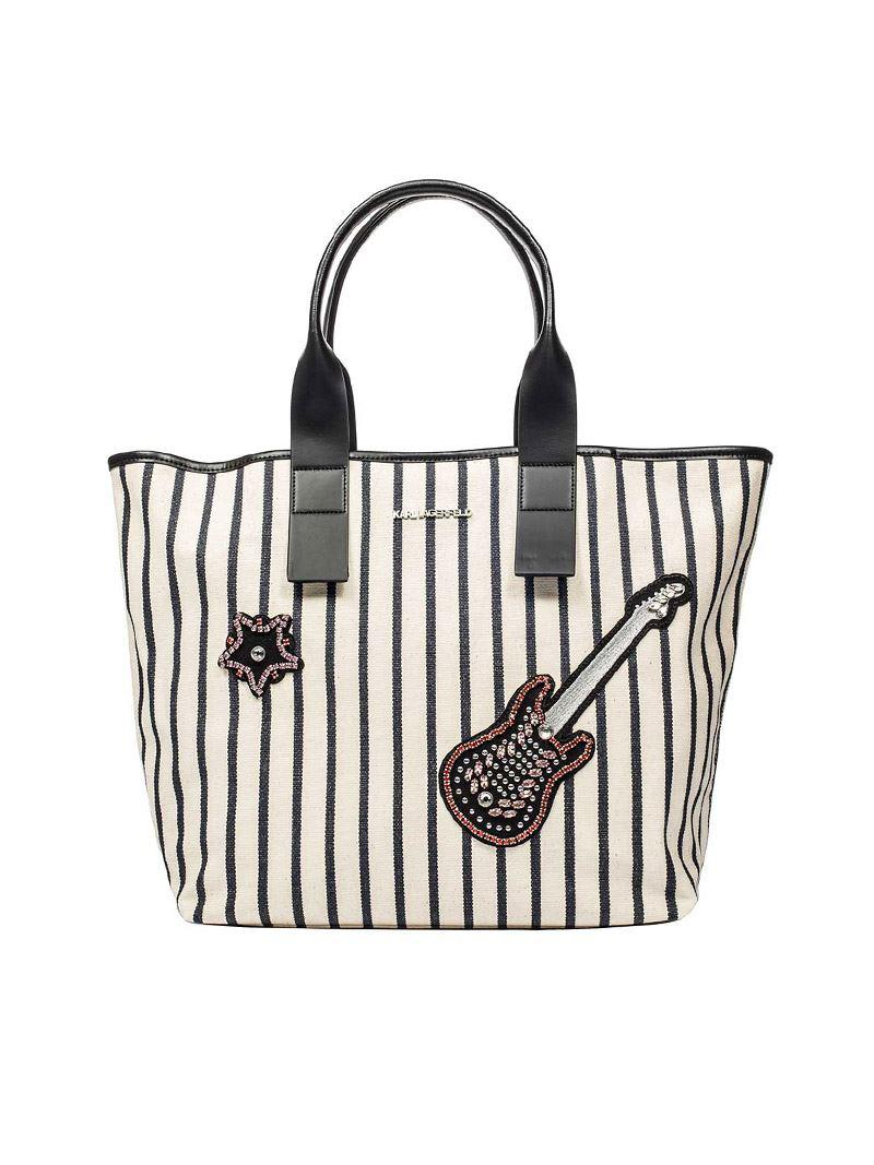 White Klassic Sparkle Tote Bag Karl Lagerfeld fsr1PN