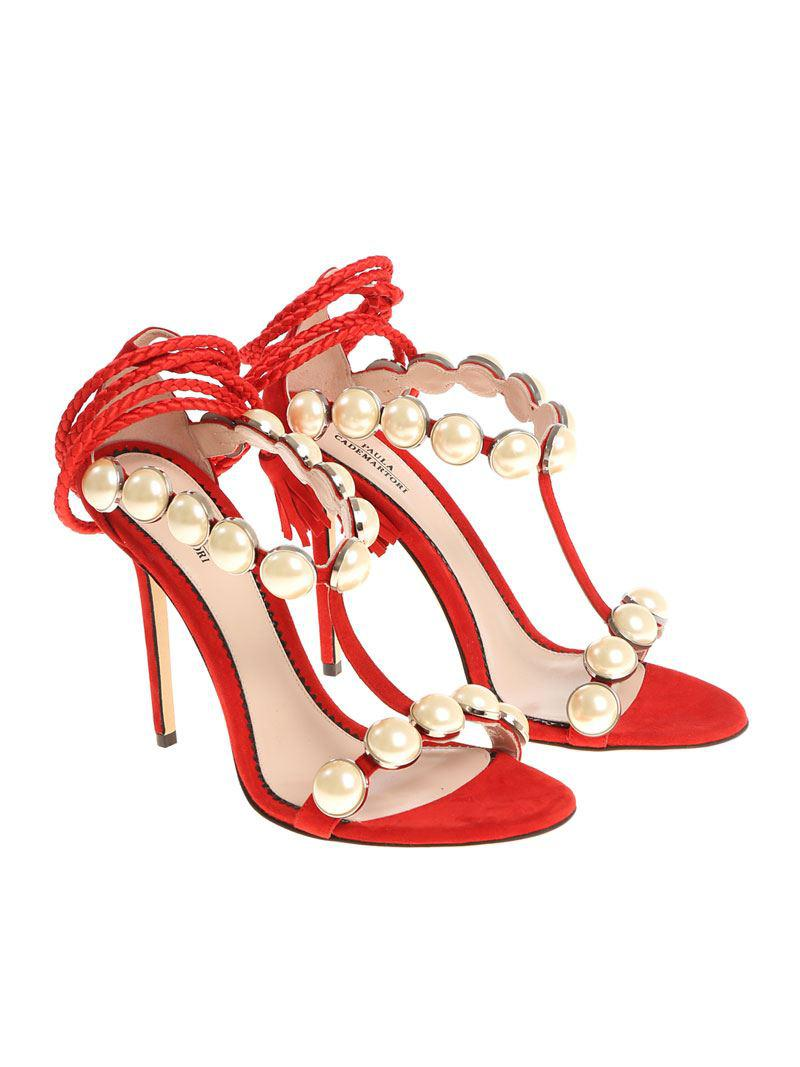 Red sandals with pearled inserts Paula Cademartori AvCq45dV