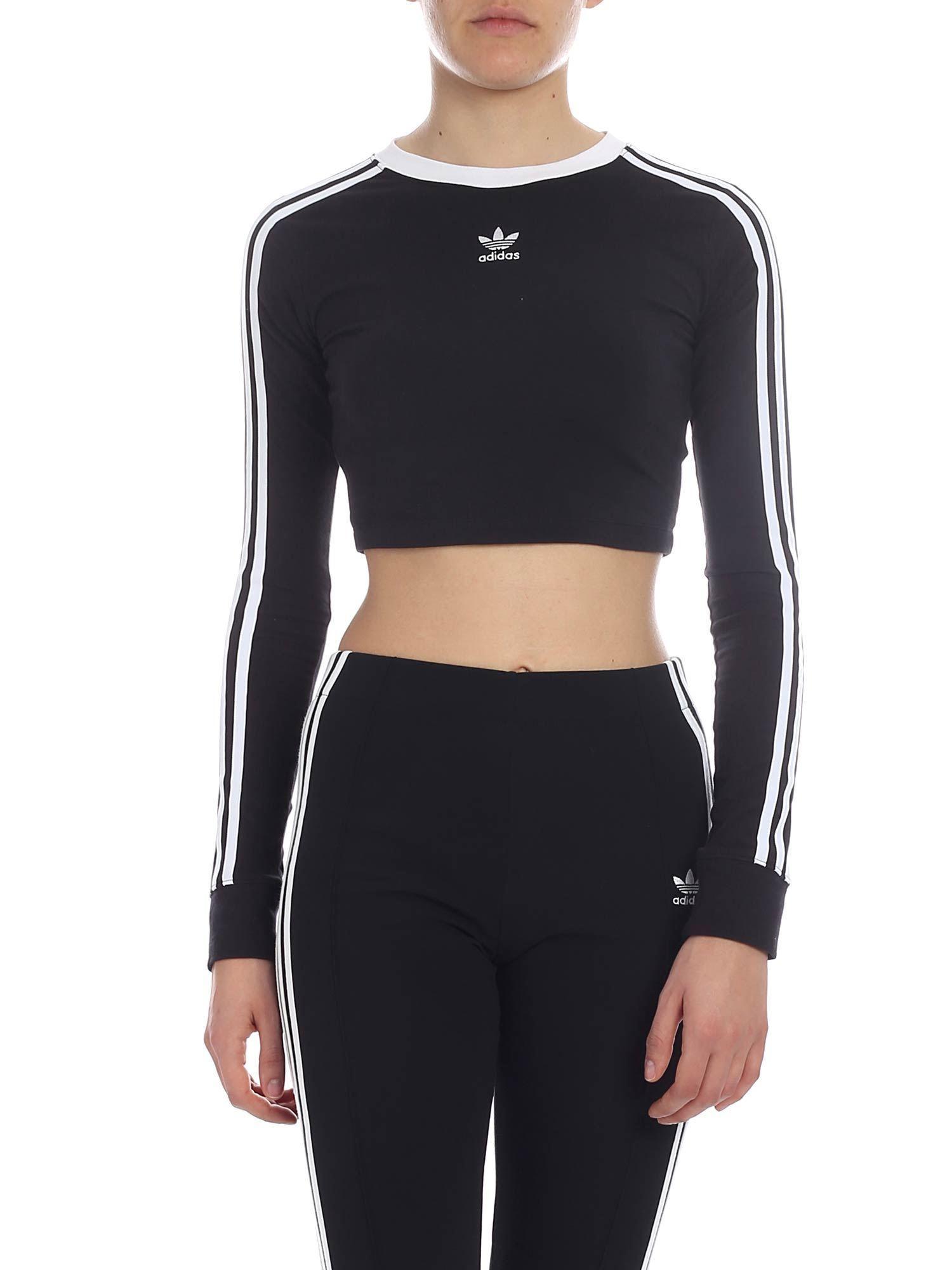 8bb2d0c35825a7 Lyst - adidas Originals Long-sleeved Crop T-shirt In Black in Black