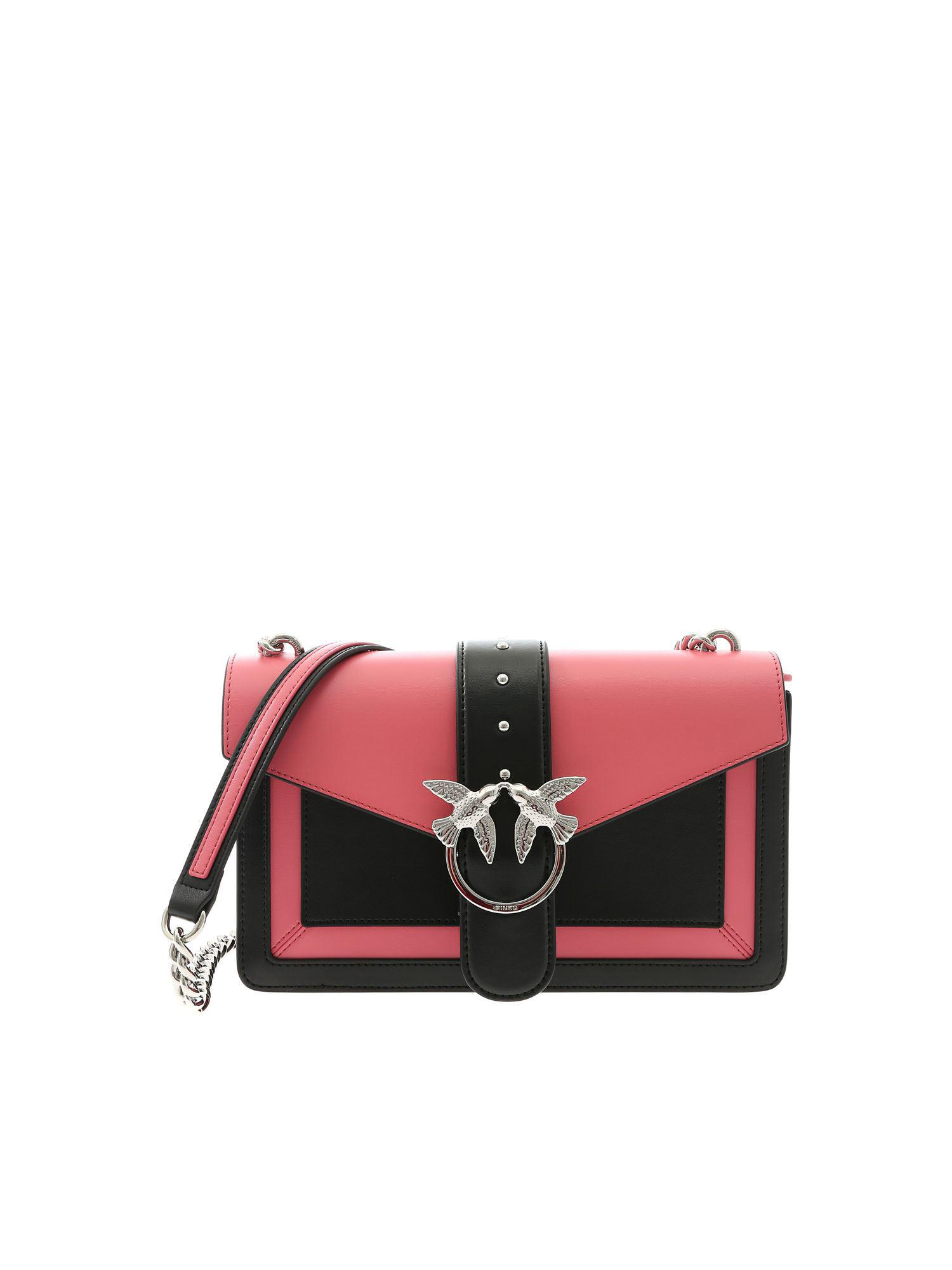 71a0158567 Pinko Love Evolution Bag In Black And Pink Leather in Black - Lyst