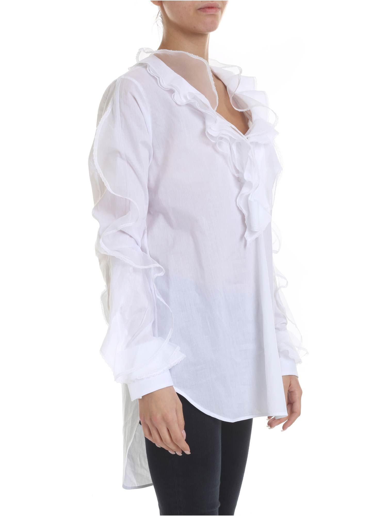 73be3d65827704 Ermanno Scervino Blouse In White With Ruffles And Lace in White - Lyst