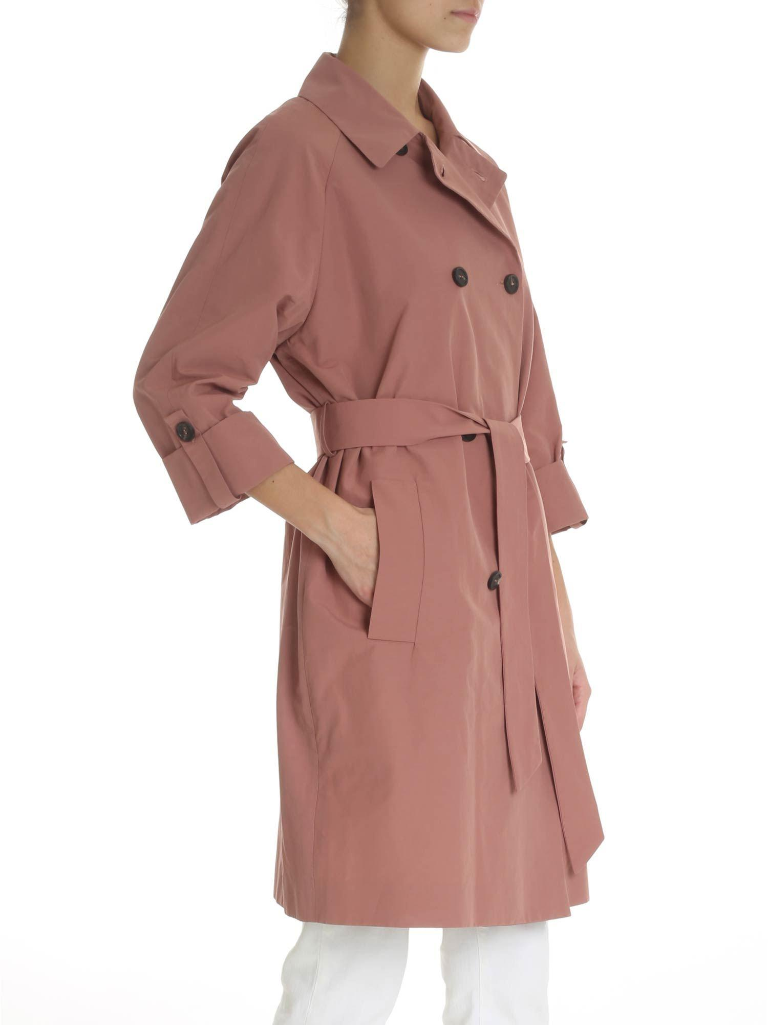 cc0661a4172 peserico-pink-Pink-Three-quarter-Sleeves-Raincoat.jpeg