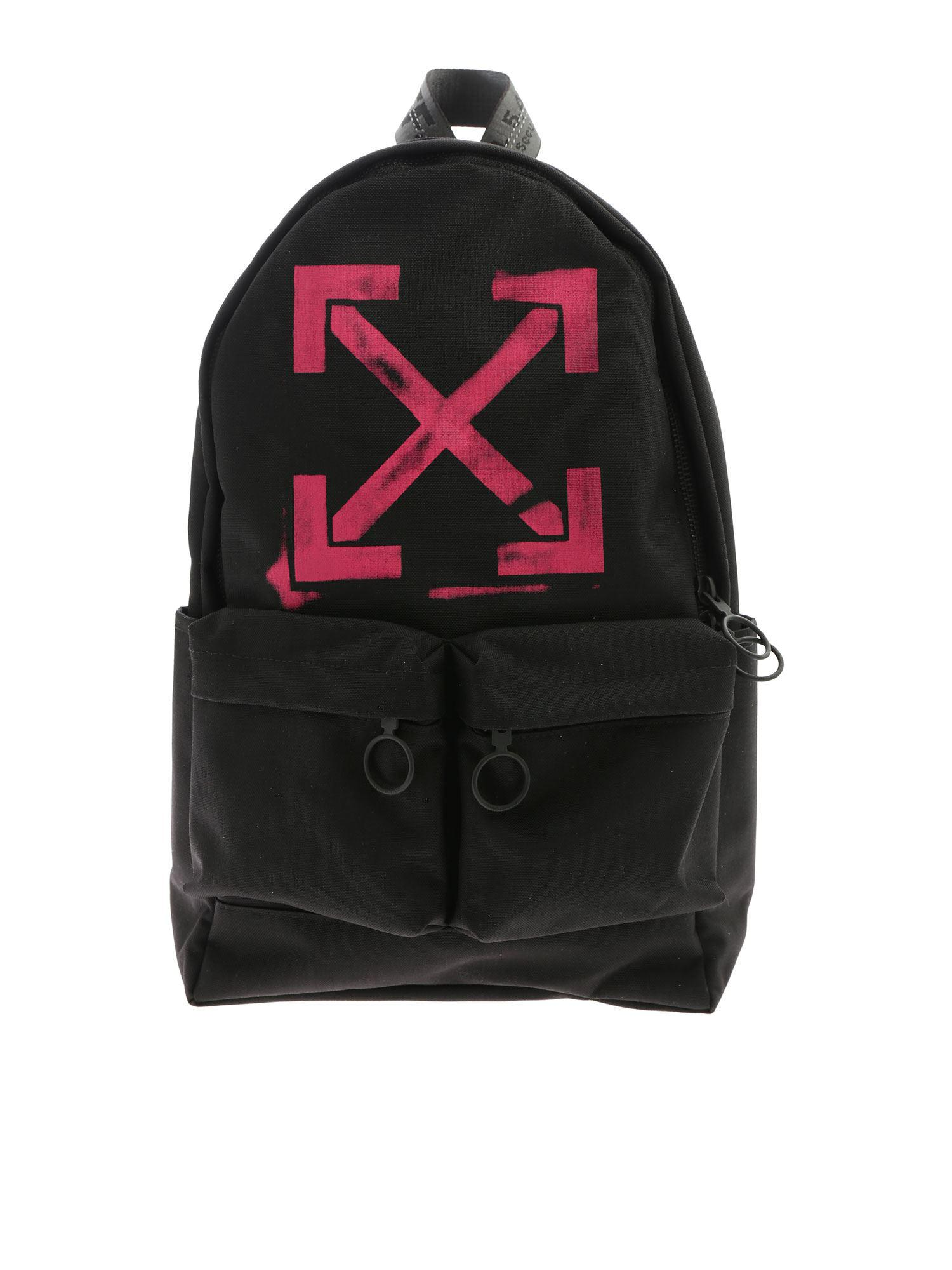 232354a97ea6 Lyst - Off-White c o Virgil Abloh Arrows Black Backpack With Fuchsia ...