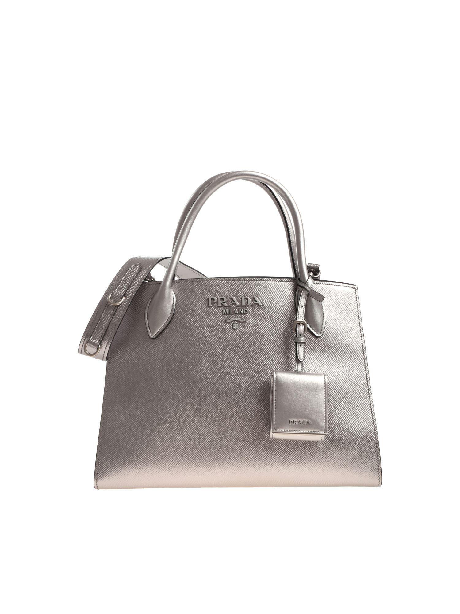 410c08cf6abd Lyst - Prada Silver Leather Shoulder Bag in Metallic