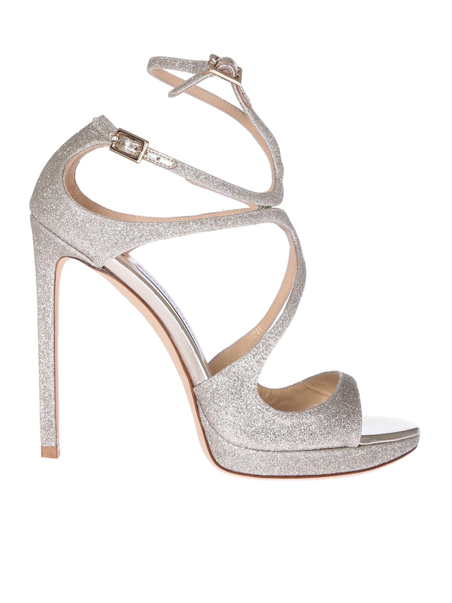 3751a898f8c7 Lyst - Jimmy Choo Lance 120 Glittered Leather Sandals