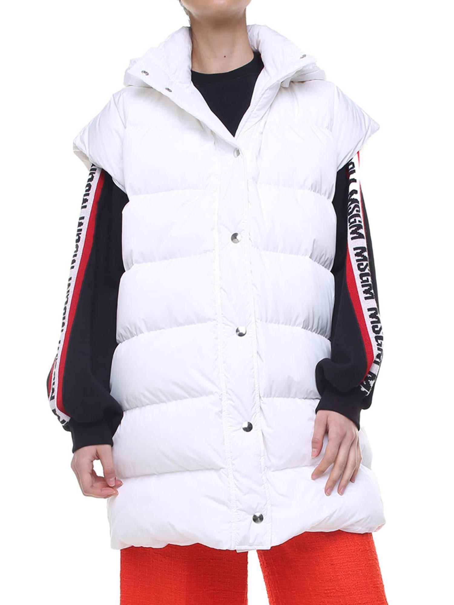 View White Down Fullscreen Msgm Jacket Lyst Sleeveless n1wxgqWaSa