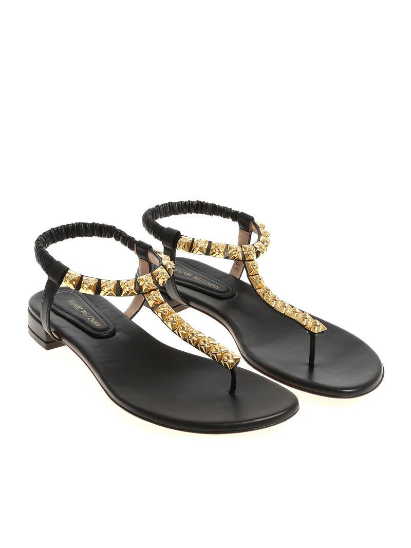 cde61be7205e Stuart Weitzman Black Esme Thong Sandals in Black - Lyst