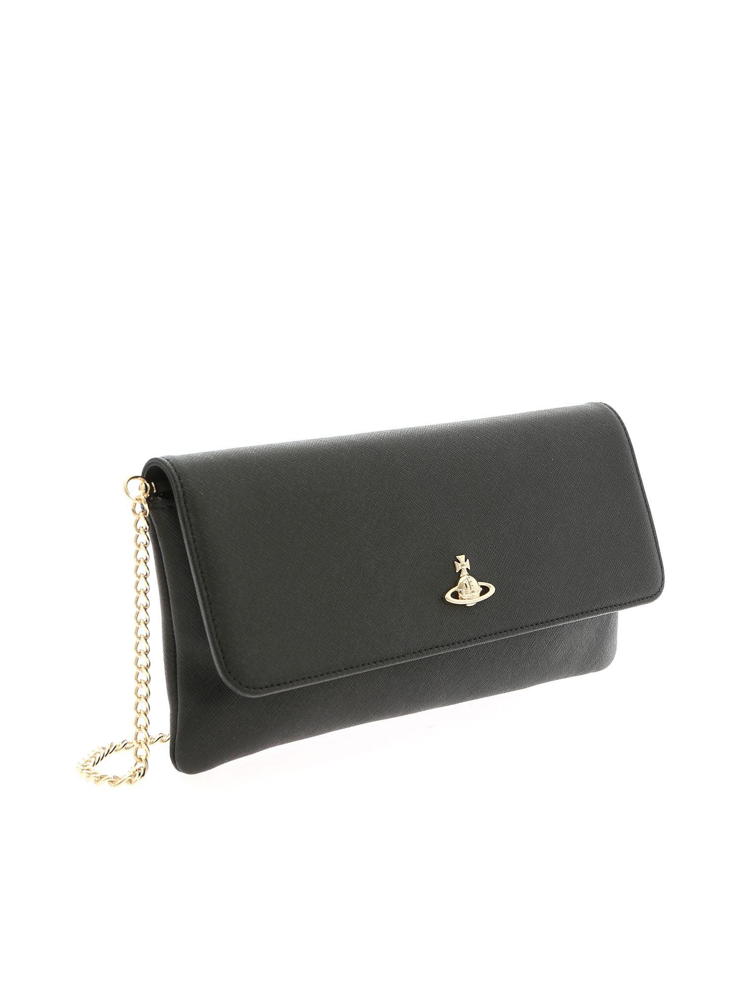 97a78ac1becfe Lyst - Vivienne Westwood Victoria Black Clutch Bag With Logo in Black