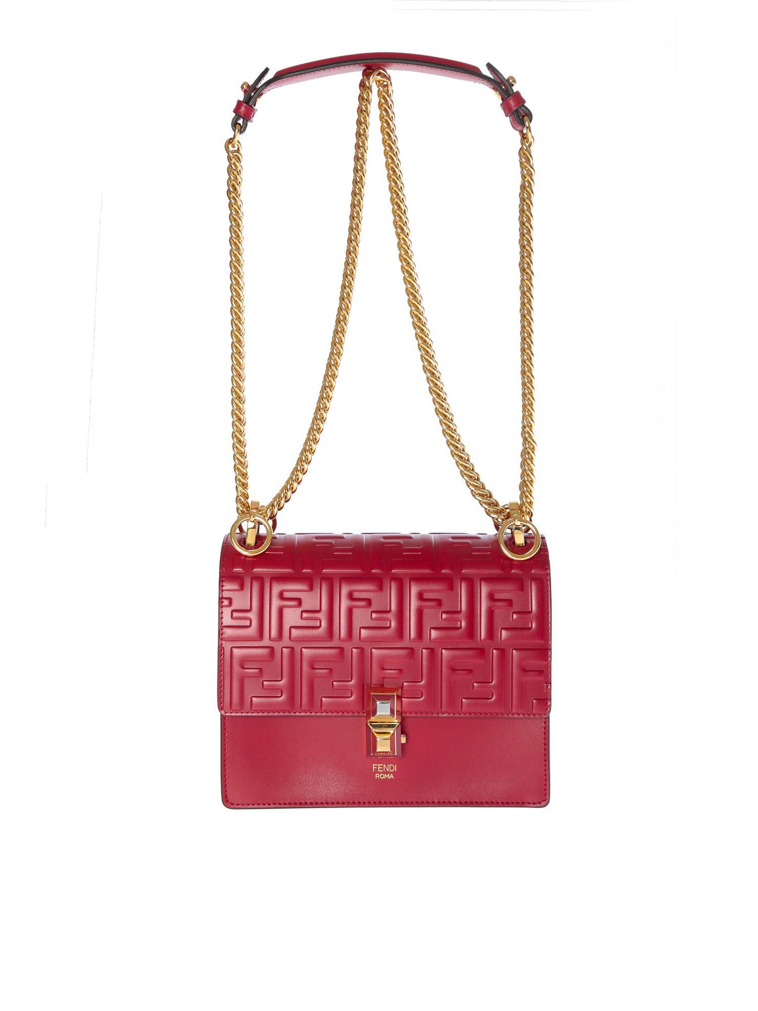 5e018c211e18 Lyst - Fendi Red Leather Kan I Bag in Red - Save 4%