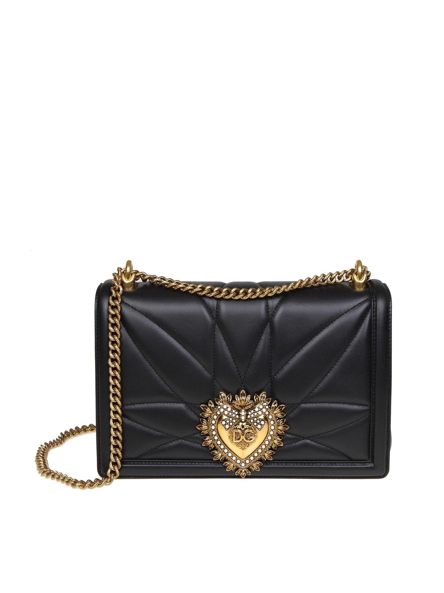 90d7652aba Dolce   Gabbana. Women s Black Large Devotion Bag In Quilted Nappa Leather
