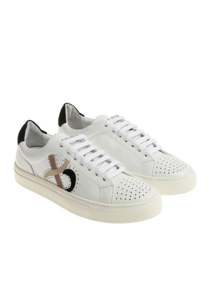White sneakers with pierced inserts Ballantyne kmS1sL