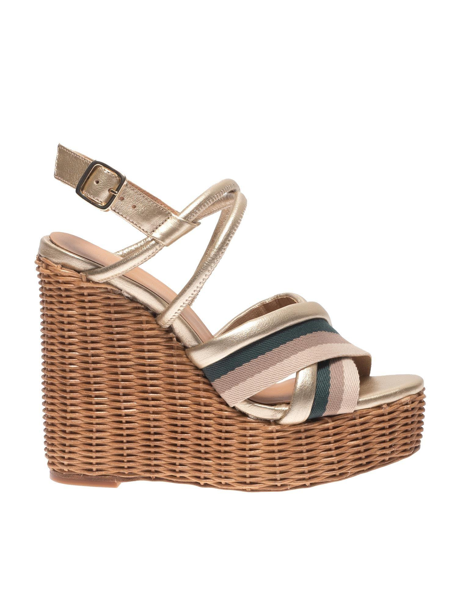 4571655c4bd Lyst - Paloma Barceló Yves Golden Sandals With Striped Band