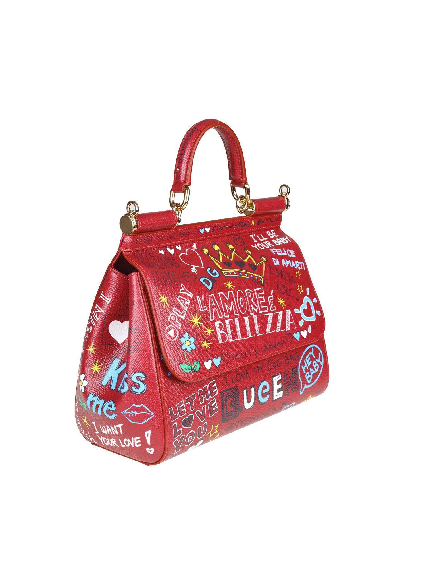 Dolce   Gabbana - Red Leather Sicily Medium Bag - Lyst. View fullscreen fbea61c4d2