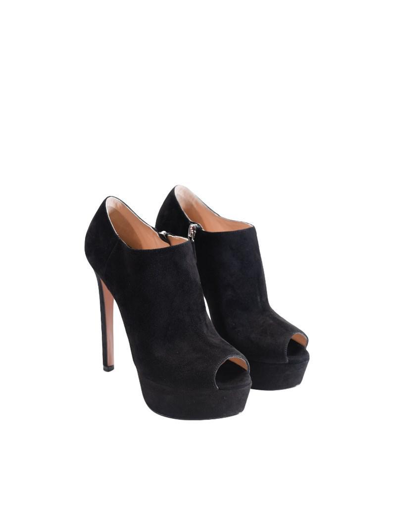 babc9128882c Lyst - Prada Open Toe Ankle Boots in Black