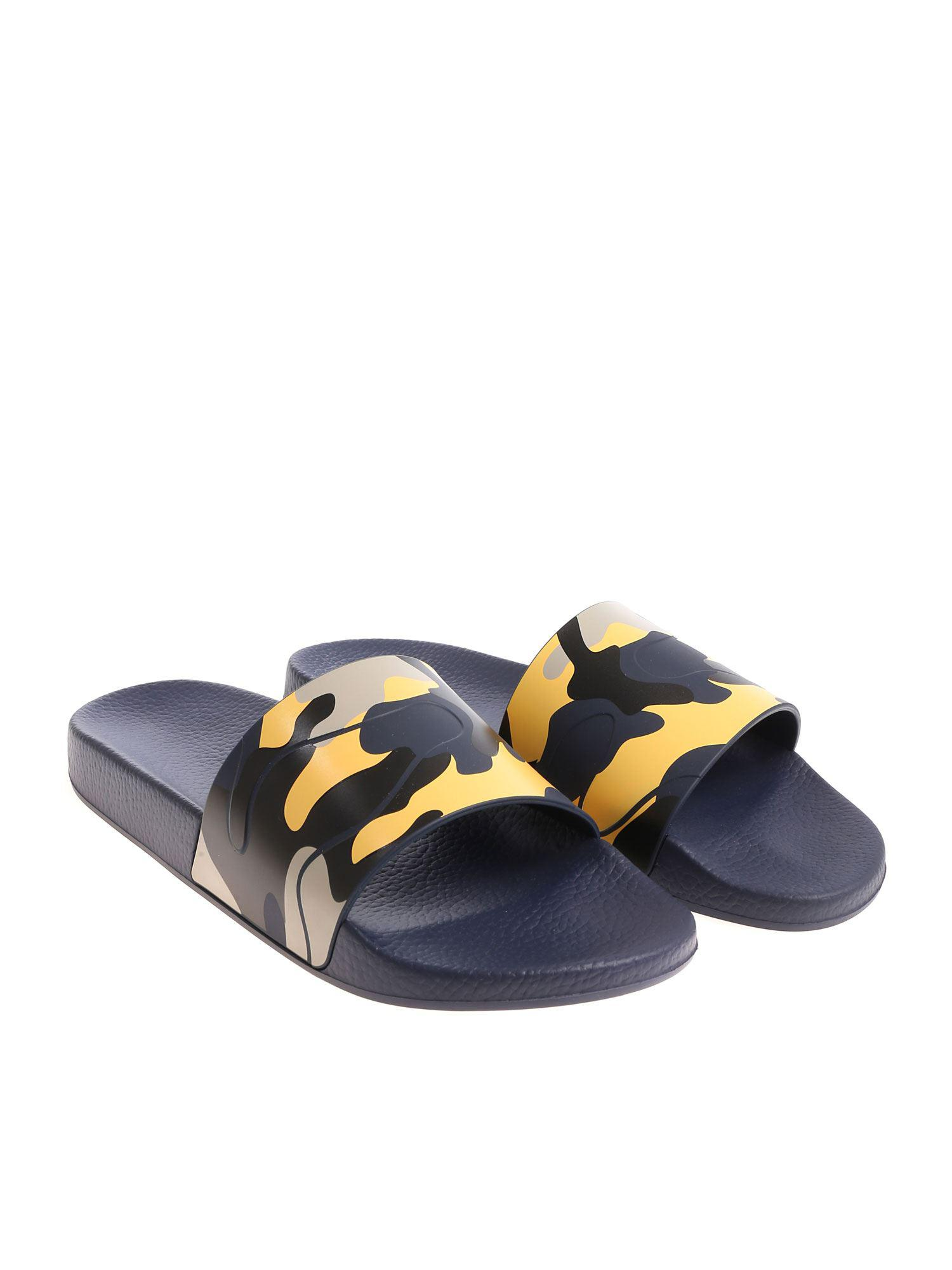 45a5a6212183 Valentino Blue Camouflage Slides in Blue for Men - Save 40% - Lyst