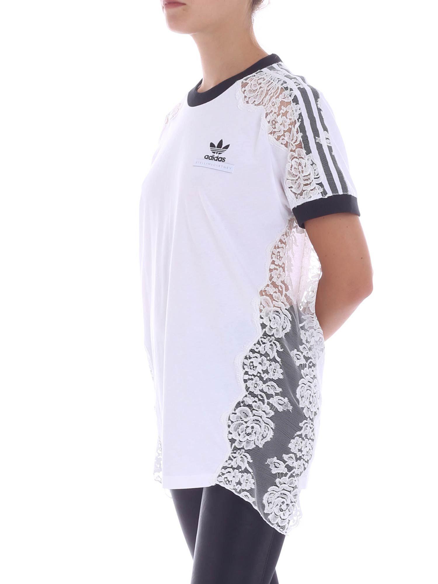 f07f511079849 Stella McCartney X Adidas Lace Trim Tee in White - Save 47% - Lyst