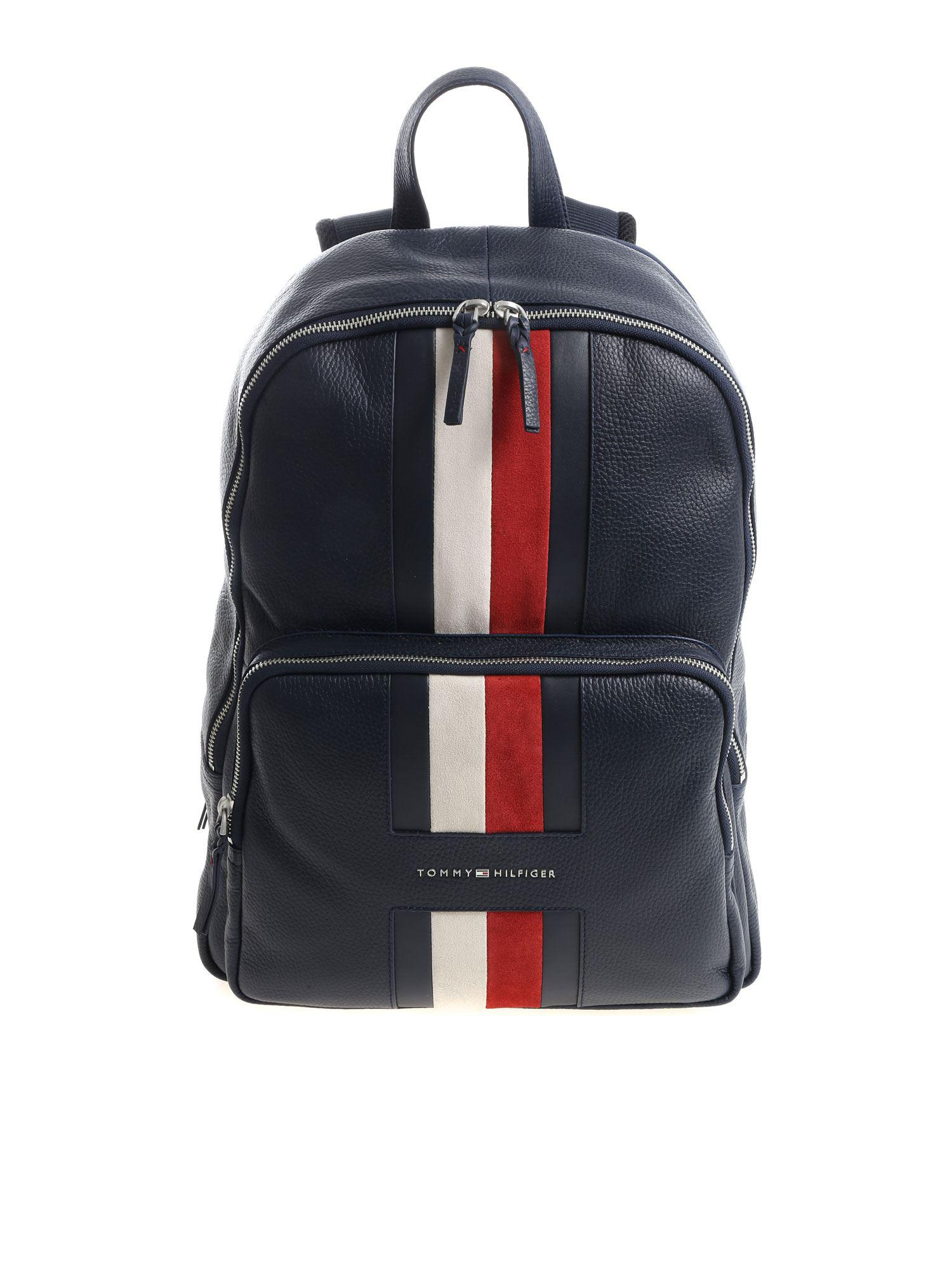 76788115e7a Tommy Hilfiger - Blue Leather Backpack With Logo - Lyst. View fullscreen