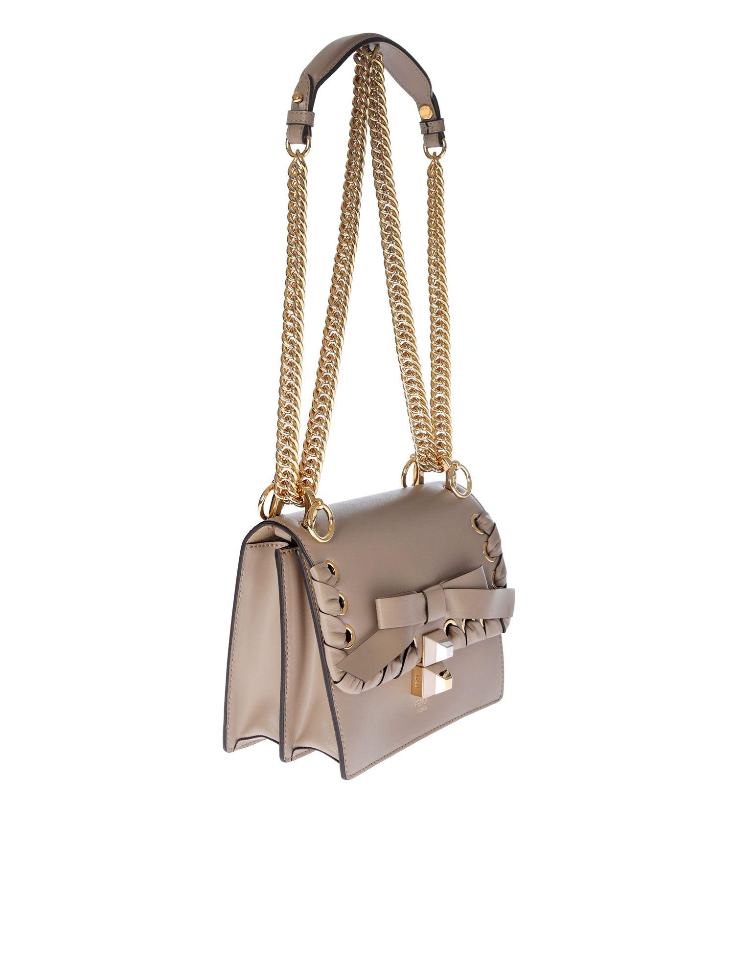 5c020d0740 Lyst - Fendi Grey Kan I Small Bag With Ribbon in Gray