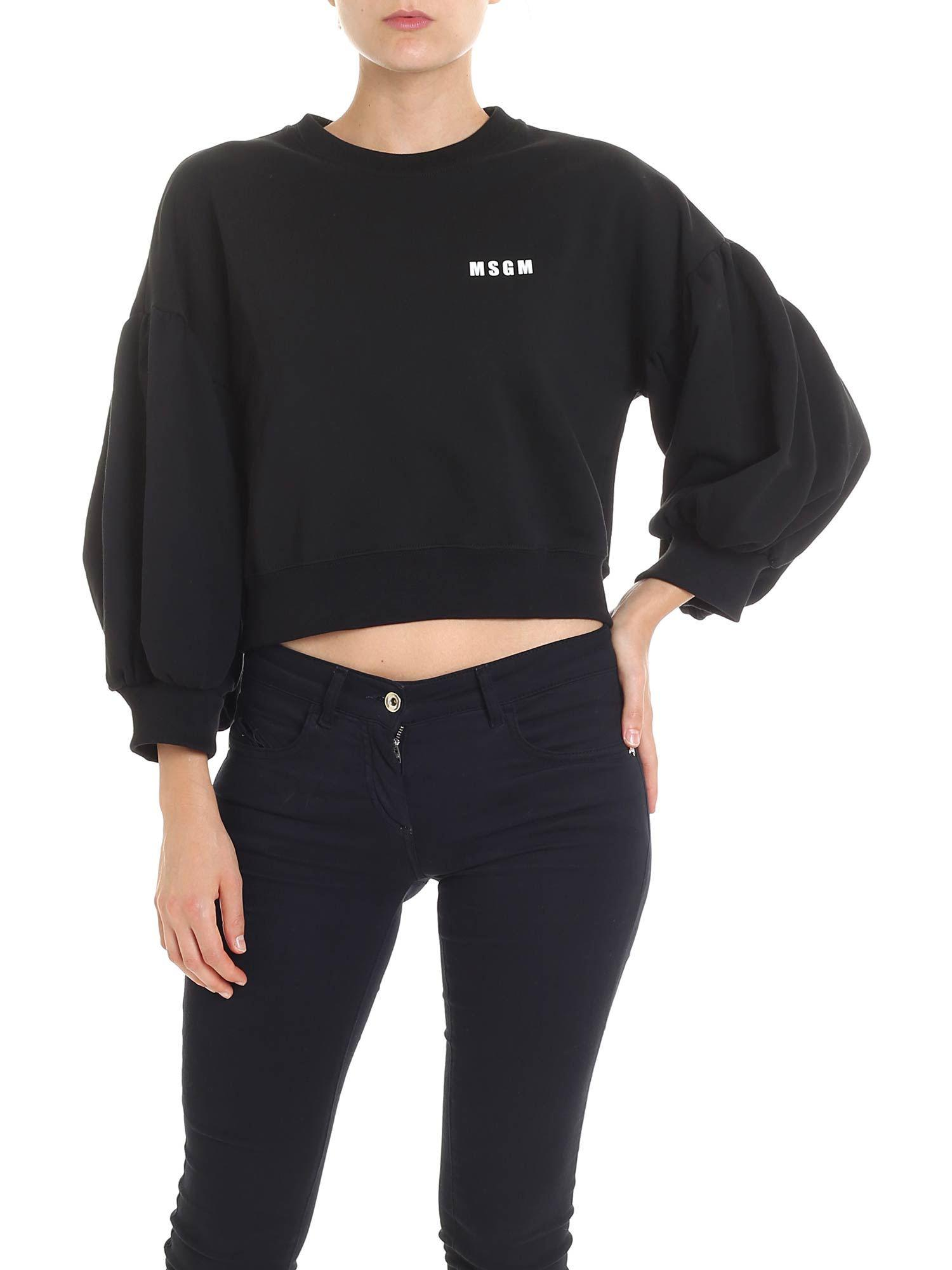 Msgm View Fullscreen Balloon Sweatshirt Black Lyst Crop Sleeve fa8xrfwUqv