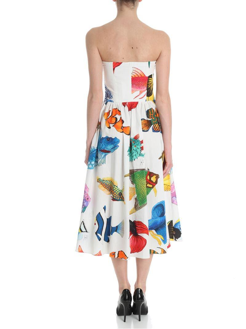 White dress with fishes print Stella Jean Very Cheap Sale Online 2018 Sale Online a2XnXiDs