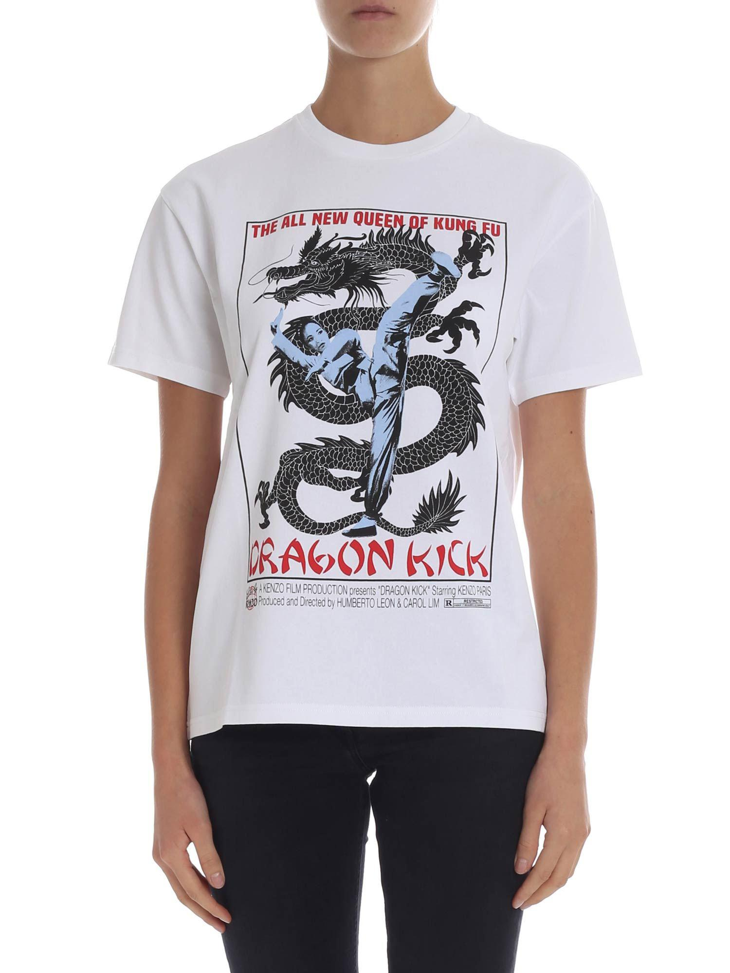 60f6e8fdf KENZO Dragon Printed White T-shirt in White - Lyst
