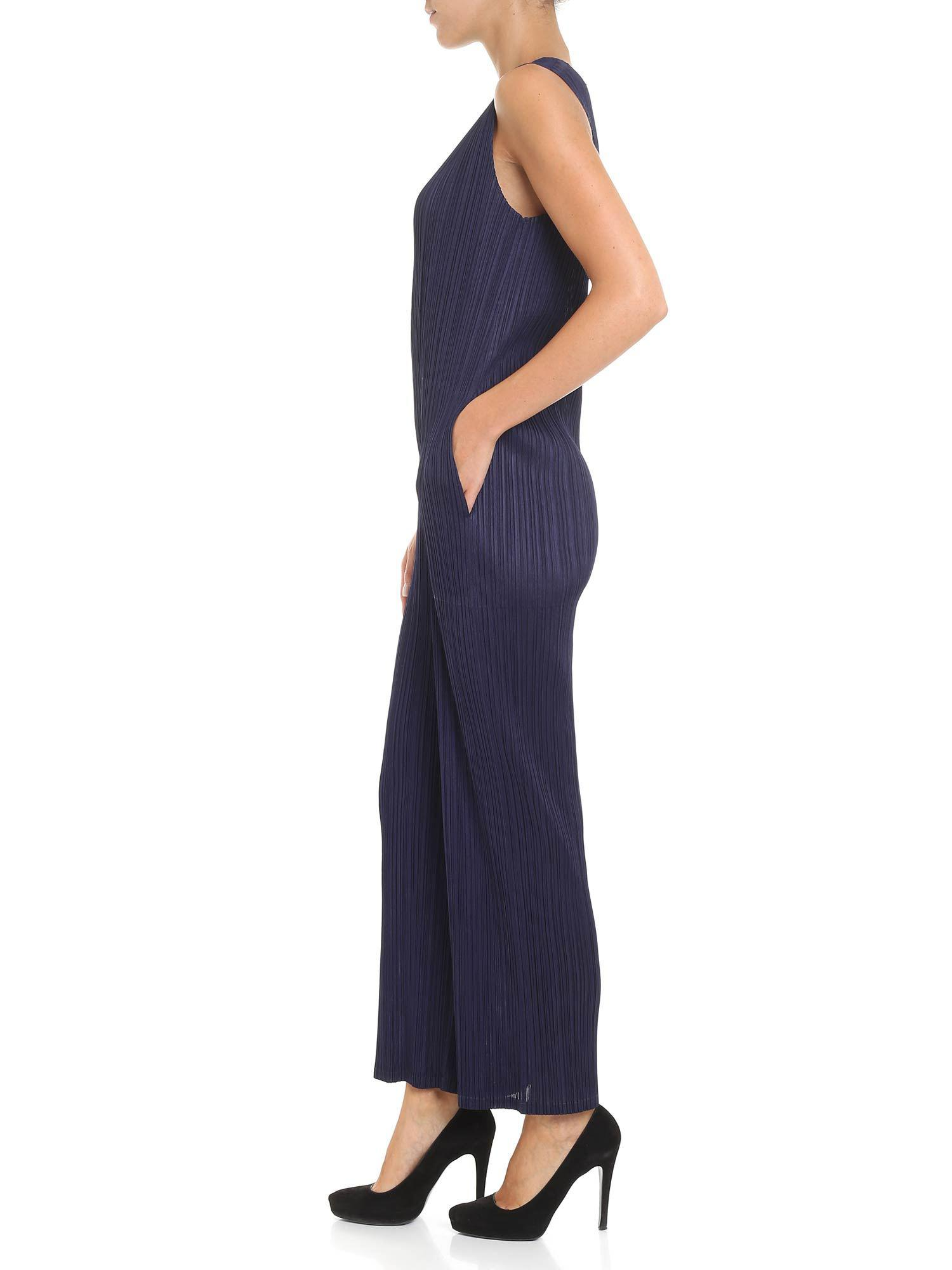 f49d671b4f9eb Lyst - Pleats Please Issey Miyake Pleated Sleeveless Blue Jumpsuit in Blue  - Save 30.695443645083927%