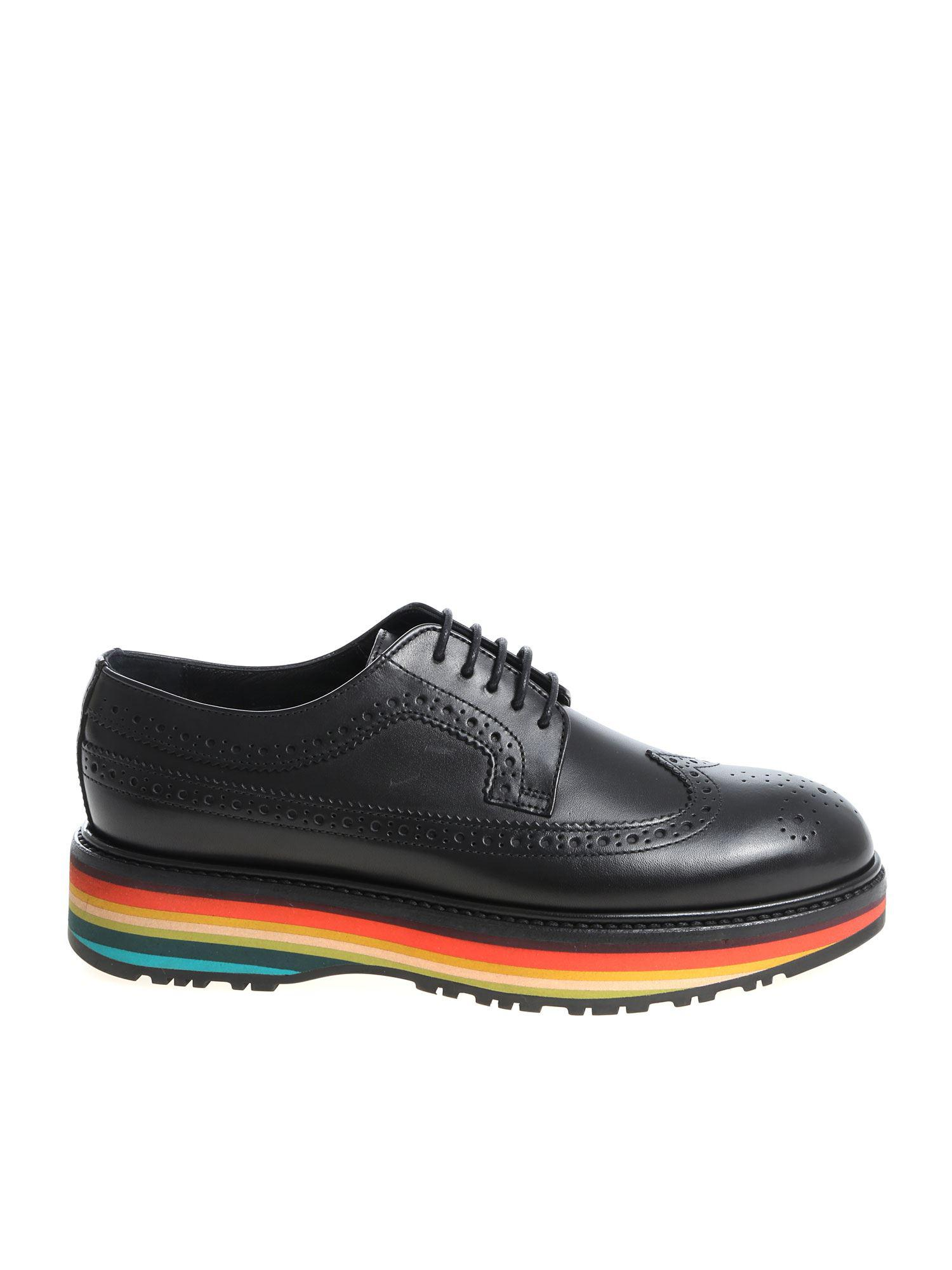 aa41fde6d6ca Lyst - PS by Paul Smith Black Leather Derby Shoes With Multicolor ...