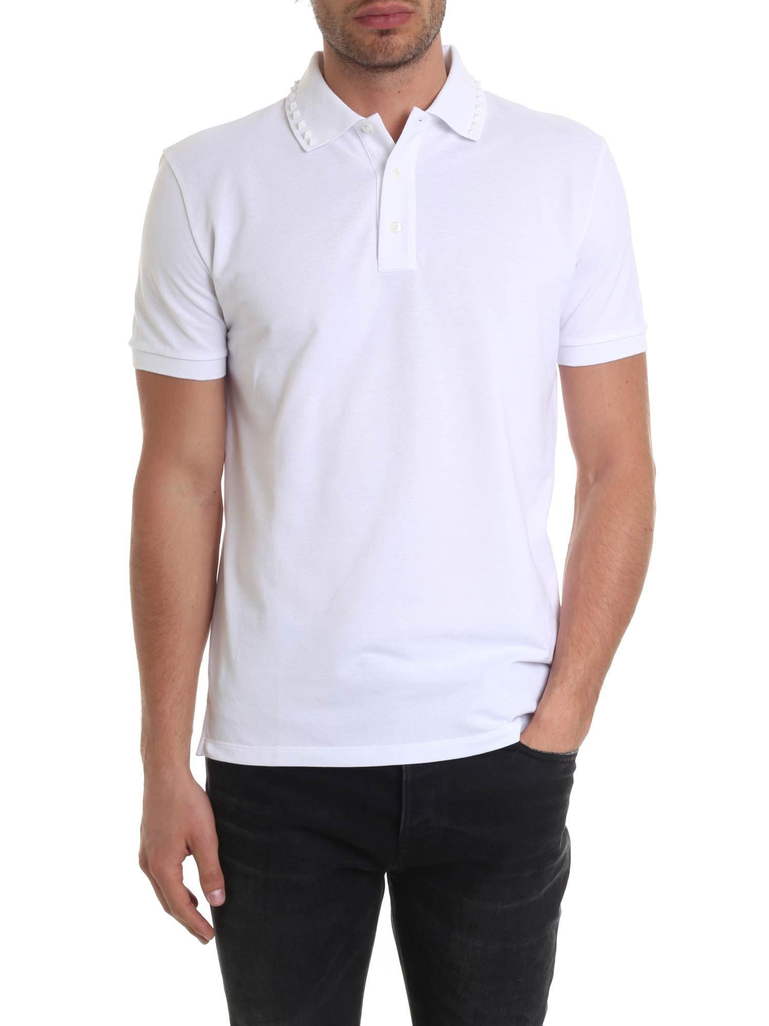 b3ee17e9 Valentino White Rockstud Polo in White for Men - Lyst