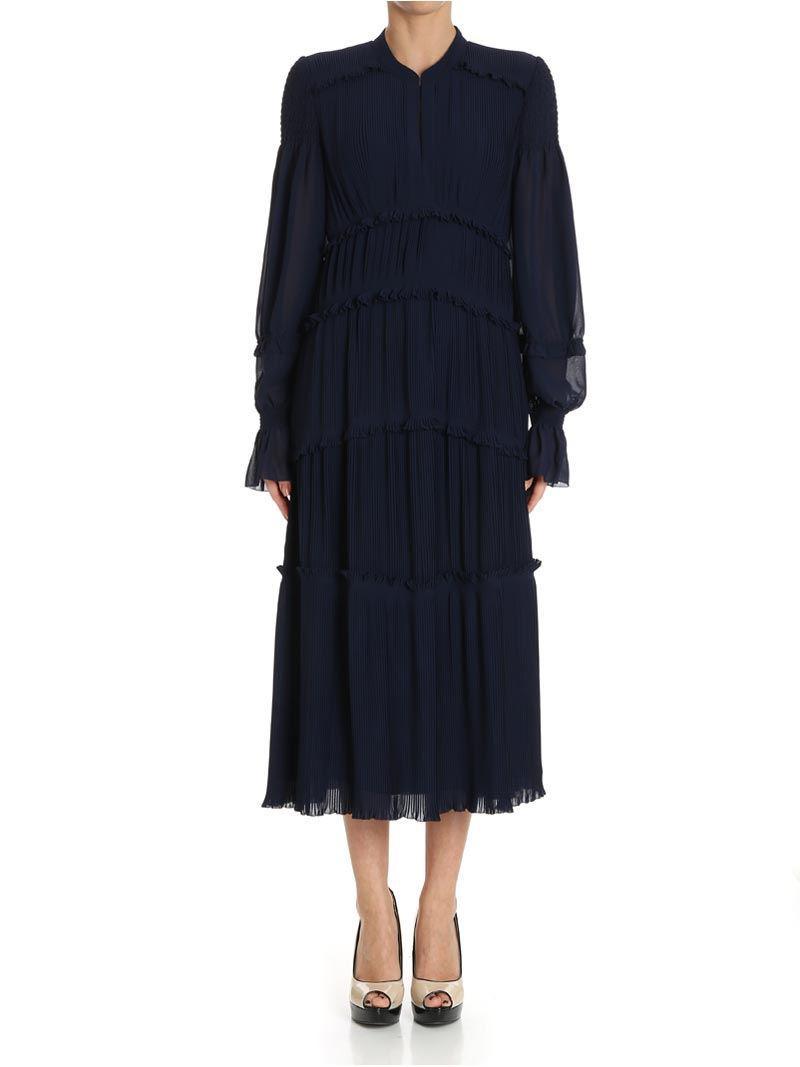 Blue pleated flounced Stella dress Tory Burch Authentic VqHSMq