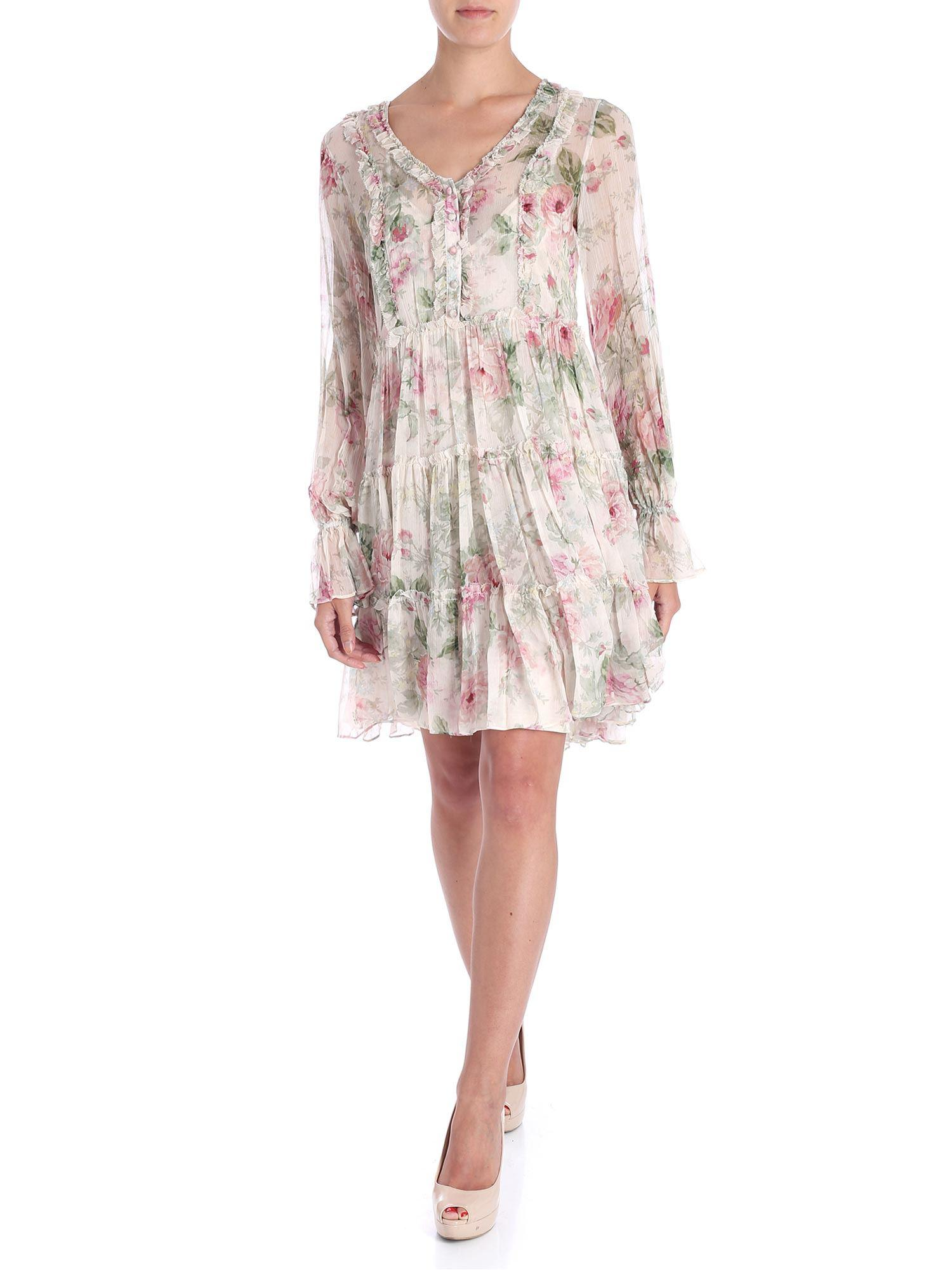 182ad2aadb8b8 Lyst - Polo Ralph Lauren Beige Floral Printed Dress in Natural