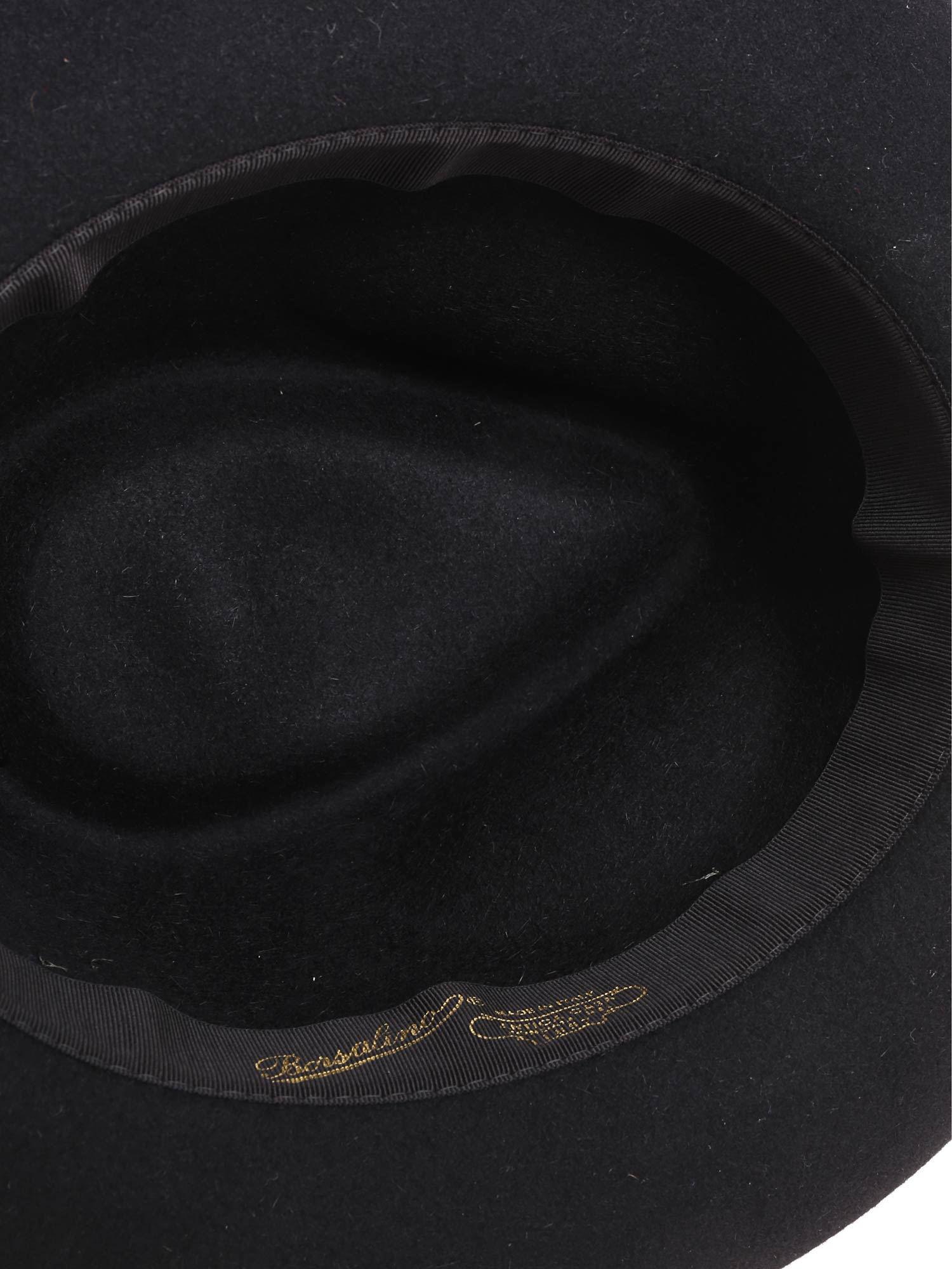 d3b25c6d04780b Borsalino - Rasato Black Hat With Green Insert for Men - Lyst. View  fullscreen