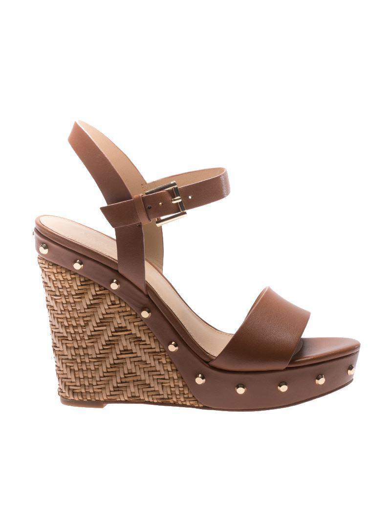 353f5674dd Michael Kors Brown Ellen Wedge Sandals in Brown - Lyst
